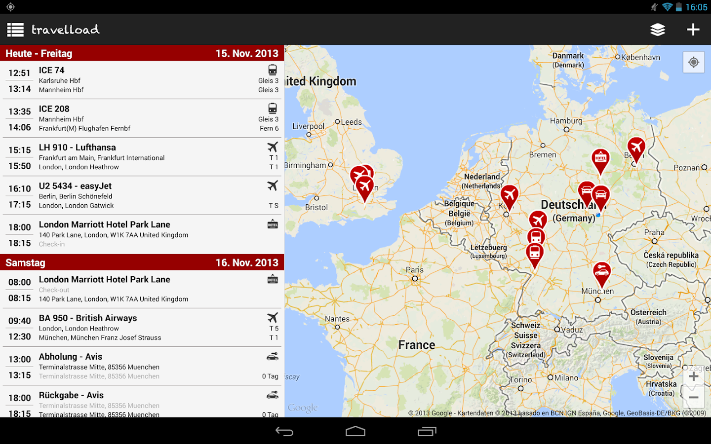 travelload Reise Routenplaner - screenshot