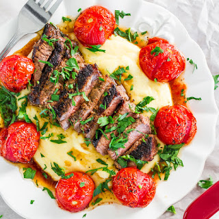 Creamy Polenta with Grilled Steak and Roasted Tomatoes