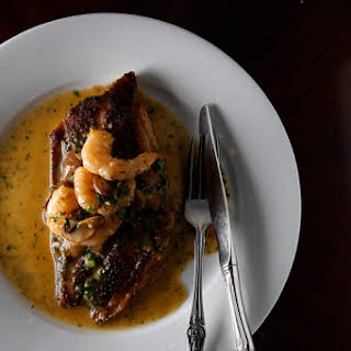 Brigtsen's Pan-Fried Drum Fish with Shrimp Diane Sauce.