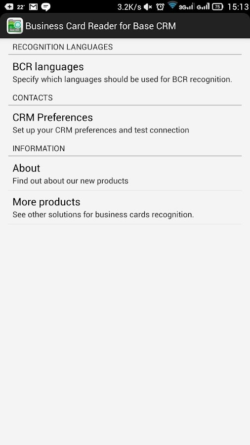 Free Business Card Reader for Base CRM- screenshot