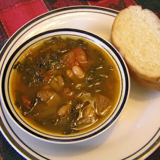 Hearty Spicy Kale and Pork Soup with White Beans.
