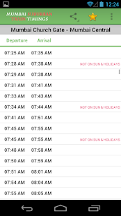 Mumbai Suburban Train Timings - screenshot thumbnail