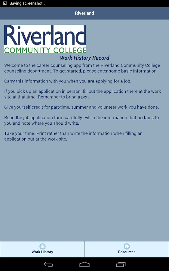 Work History Record- screenshot