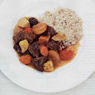 Lamb Tagine with Prunes, Apricots, and Vegetables.