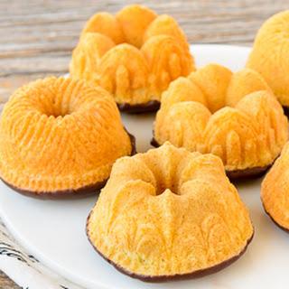 Chocolate Dipped Vanilla Mini Bundt Cakes for #BundtBakers.