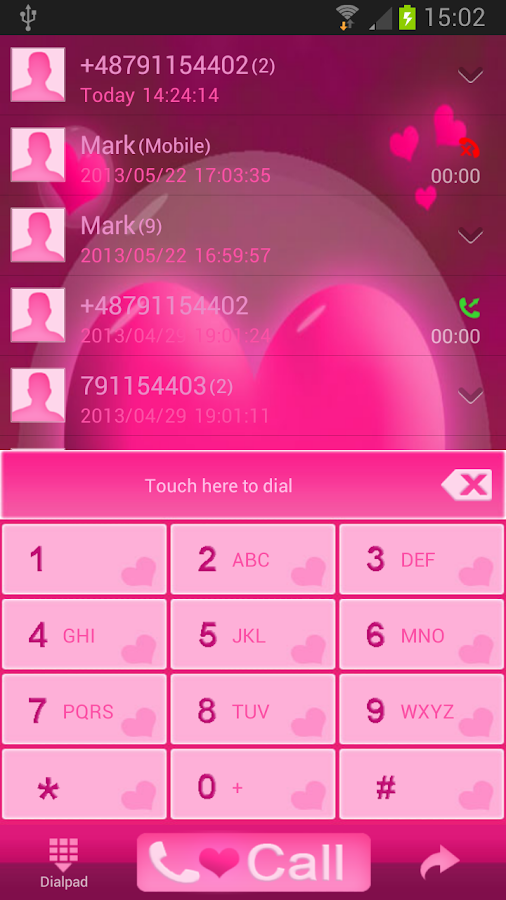 GO Contacts Hearts Theme - screenshot