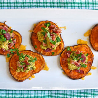 Sweet Potato Bites with Avocado and Bacon.