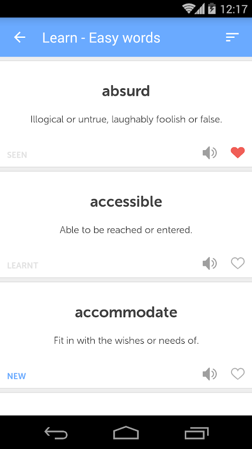 CAT GRE SAT Vocab Flashcards- screenshot