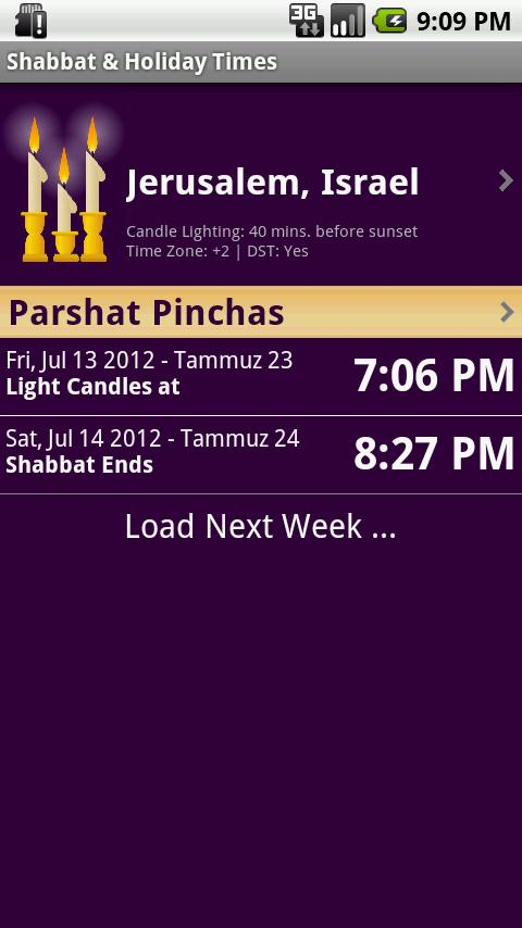 Shabbat & Holiday Times - screenshot