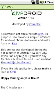 Kivadroid: Kiva on your Droid! - screenshot thumbnail