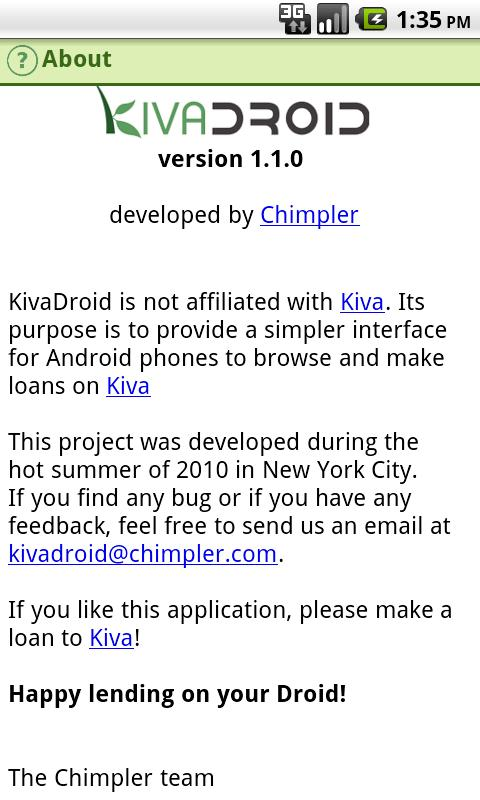 Kivadroid: Kiva on your Droid!- screenshot