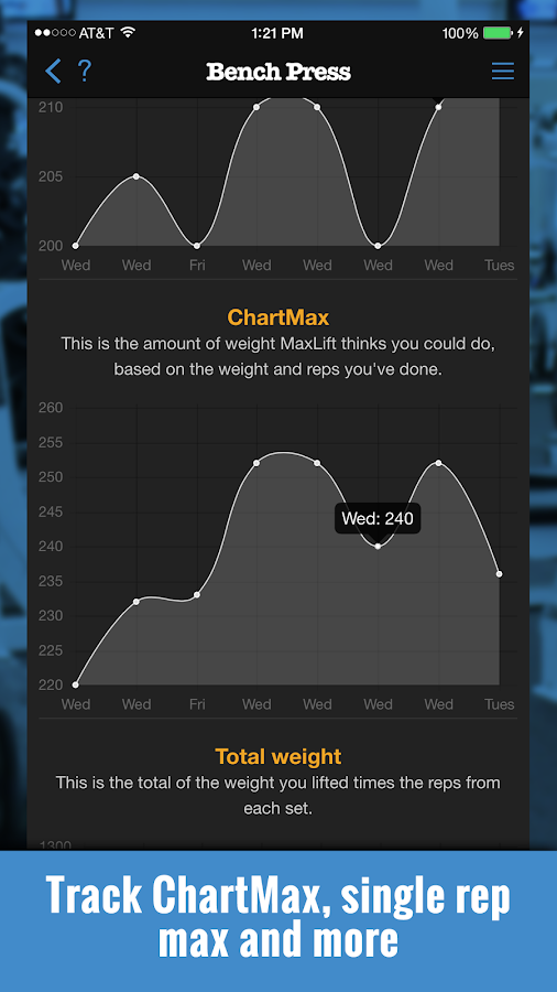 MaxLift Weight Lifting App- screenshot