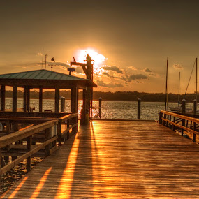Dock at Sunset by Keith Wood - Buildings & Architecture Bridges & Suspended Structures ( kewphoto, hdr, sunset, dock, keith wood,  )