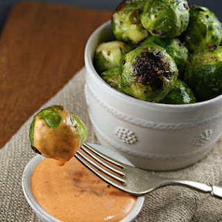 Roasted Brussels Sprouts with Sriracha Aioli.