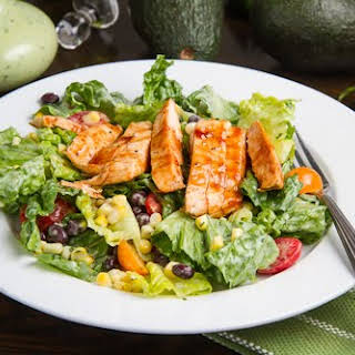 BBQ Chicken Salad with Creamy Avocado Dressing.
