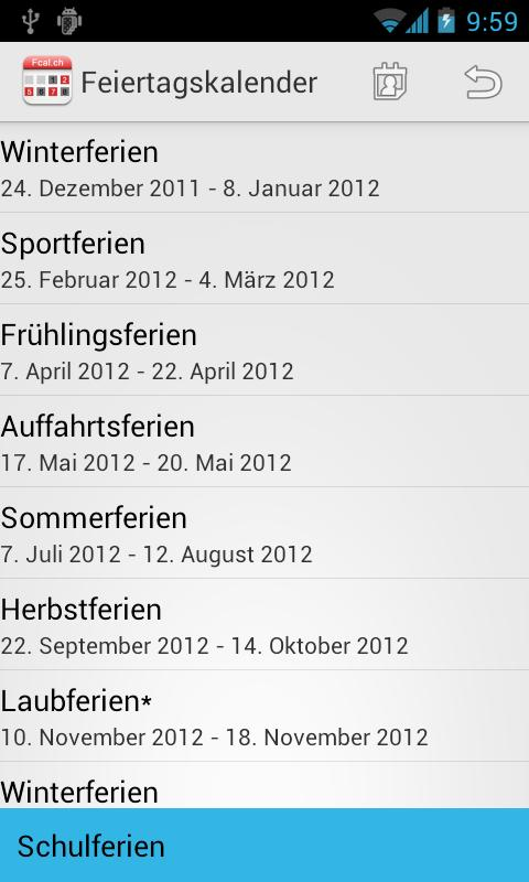 Holidaycalendar.ch - screenshot