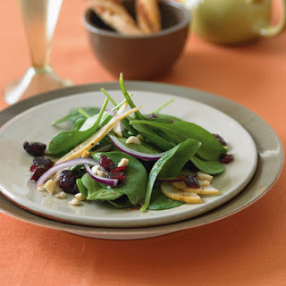 Spinach Salad with Bosc Pears, Cranberries, Red Onion, and Toasted Hazelnuts Recipe