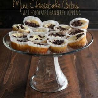 Mini Cheesecake Bites with Dark Chocolate Cranberry