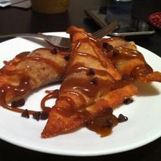 Chocolate Banana Fried Wontons with Grand Marnier® Caramel Sauce.