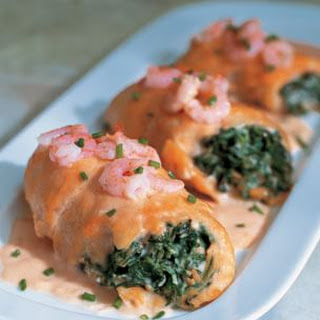 Baked Stuffed Sole with Shrimp Sauce.