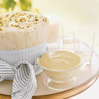 Chilled Pineapple Mousse with Pistachios.