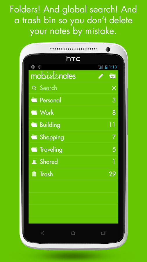 MobisleNotes - Notepad- screenshot