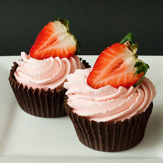 Strawberry White Chocolate Mousse Filled Chocolate Cups.