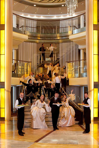Celebrity_Eclipse_grandfoyer_Baroque - Going for Baroque: The grand foyer of Celebrity Eclipse plays host to lots of fun entertainment.