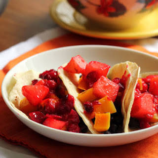 Butternut Squash Tacos with Cranberry-Jalapeño Relish.