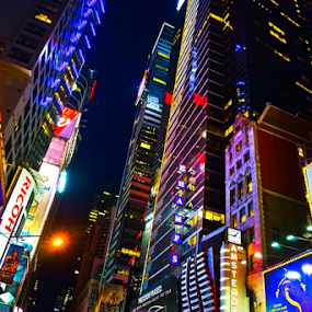 Times Square by Wah Yuen Lau - City,  Street & Park  Historic Districts ( city at night, street at night, park at night, nightlife, night life, nighttime in the city )