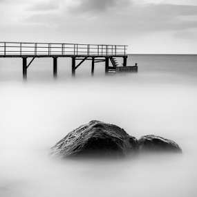 The Rock by George Papapostolou - Black & White Landscapes ( greece, black & white, fine art, long exposure, seascape, kos island, nikon,  )