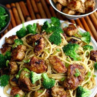 Sticky Asian Chicken Spaghetti.