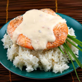 Baked Salmon with Creamy Coconut- Ginger Sauce.