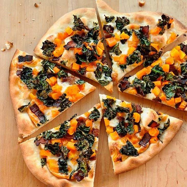 Pizza with Crispy Kale, Butternut Squash, Bacon & Smoked Mozzarella