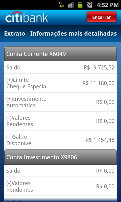Citi Mobile BR - screenshot