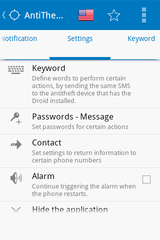 Antitheft Droid SMS - Security- screenshot