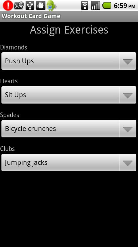 Workout Card Game - screenshot