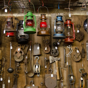 Tools and lantern by Beckie Caughman - Artistic Objects Still Life ( farm, lantern, tools, antique, country,  )