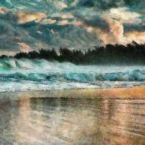 evening waters by Scott Bennett - Painting All Painting