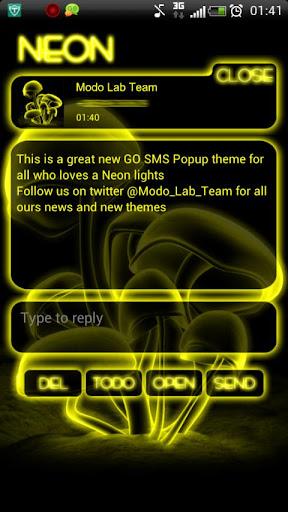 Yellow Neon GO Popup theme