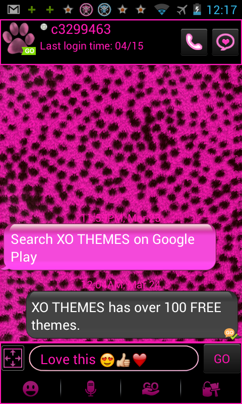 GO SMS PRO Pink Cheetah theme - screenshot