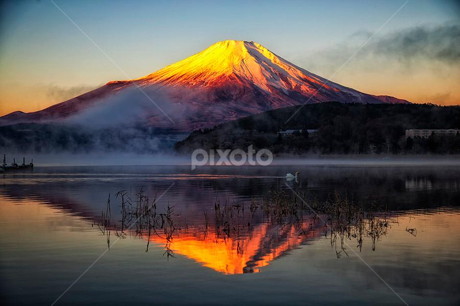 Red Fuji by Nyoman Sundra - Landscapes Mountains & Hills ( mountain, fuji, lake, sunrise, landscape, , path, nature )