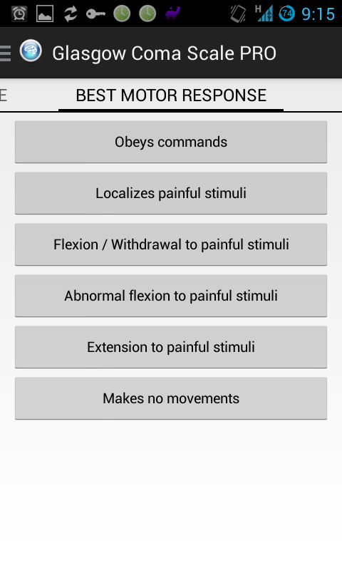 Glasgow Coma Scale- screenshot