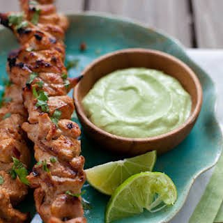 Chipotle Chicken Kabobs with Avocado Cream Sauce.