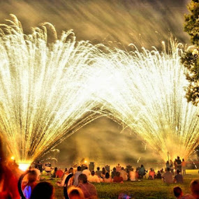 4th of July  by Martin Wheeler - Public Holidays July 4th ( field, fireworks, people,  )