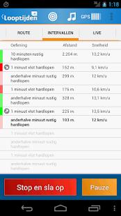 Looptijden.nl GPS hardloop-app - screenshot thumbnail
