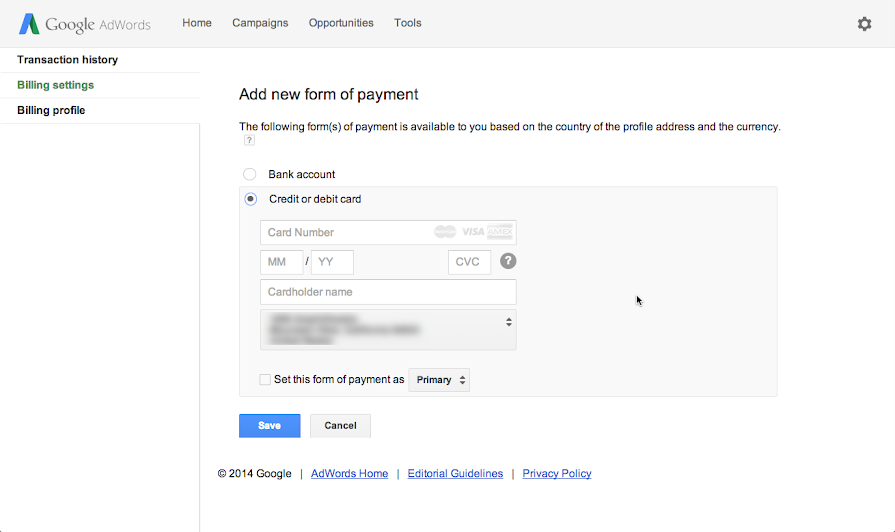 how to change card details on google account