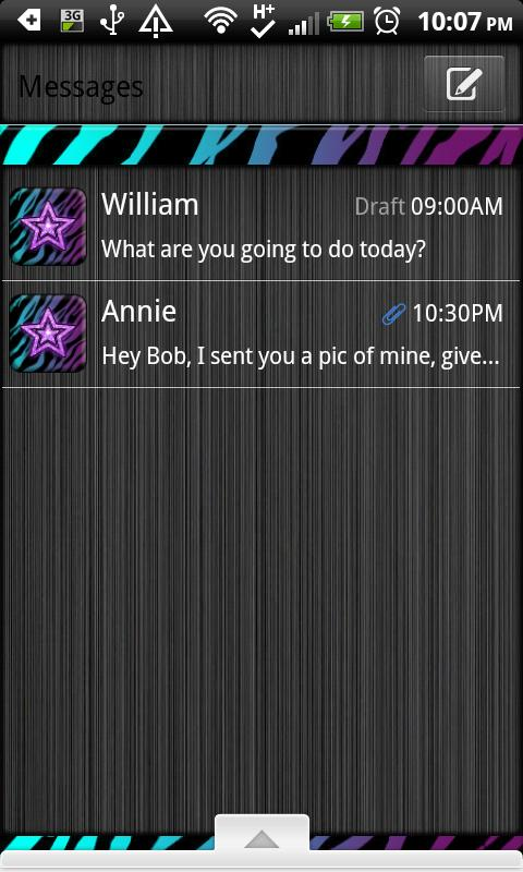 GO SMS THEME/MultiColorZebra - screenshot