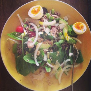 Salad With Buckwheat And Tuna With Hummusy-mustardy Dressing.