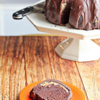 Cacao Nib-Cream Cheese Swirled Triple Chocolate Bundt Cake